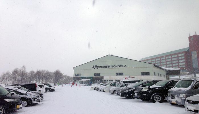 鰺ヶ沢スキー場の駐車場