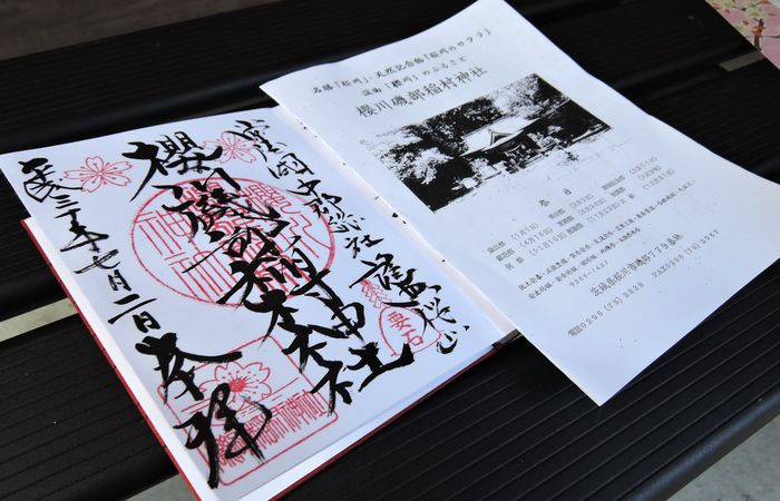 櫻川磯部稲村神社の御朱印と印刷物