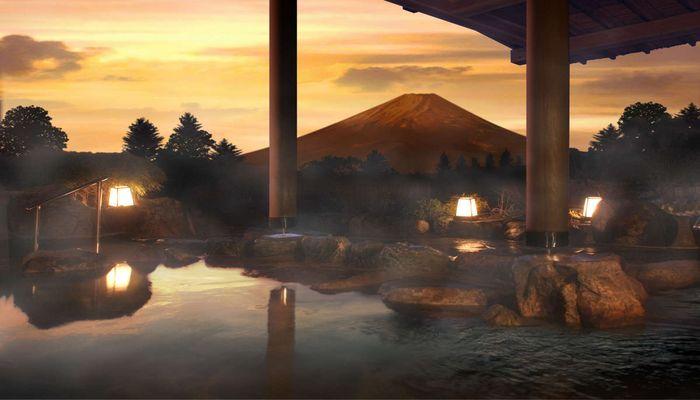 富士山を望む露天風呂