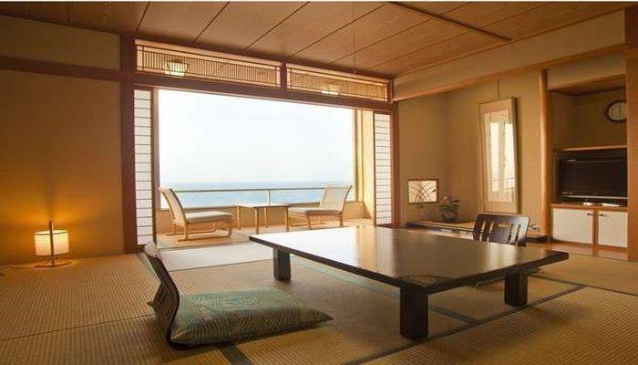 皆生菊乃家の部屋からは日本海を一望