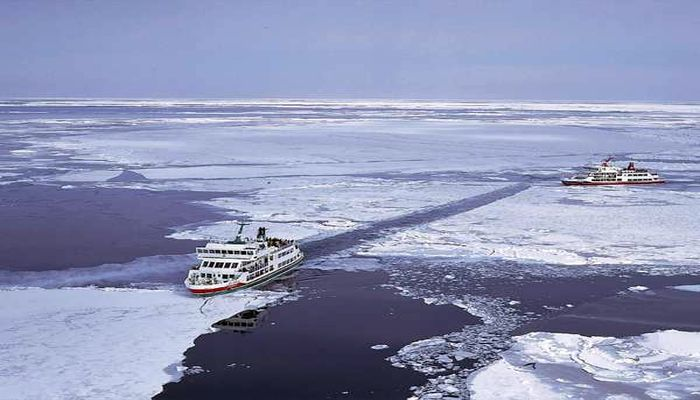 雪景色の網走湖