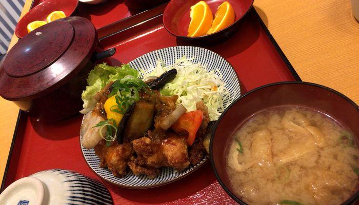 鶏と野菜の甘酢あんかけ定食